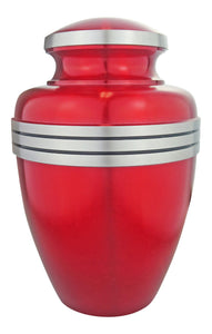 Large Aluminium Red and Silver Adult Brass Urn with Optional Personalised Engraving