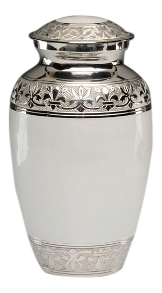 Large Silver with White Enamel Adult Brass Urn