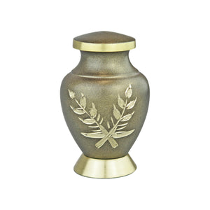 Miniature Brown and Gold Pattern Keepsake Urn