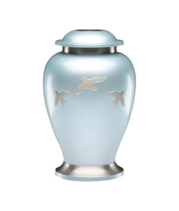 Large Powder Blue & Silver Flying Birds Adult Brass Urn