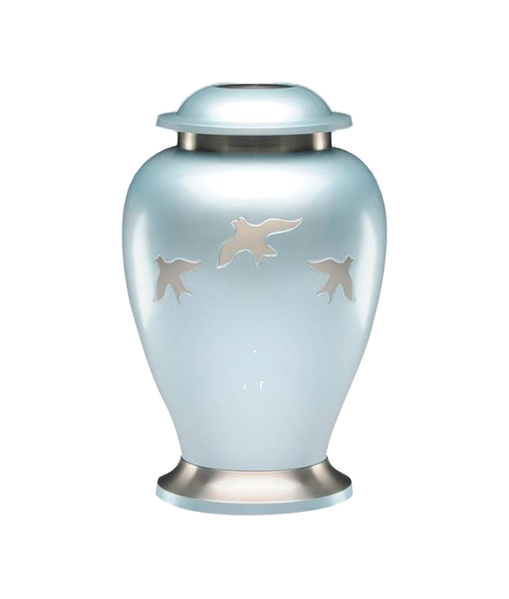 Large Powder Blue & Silver Flying Birds Adult Brass Urn with Optional Personalised Engraving