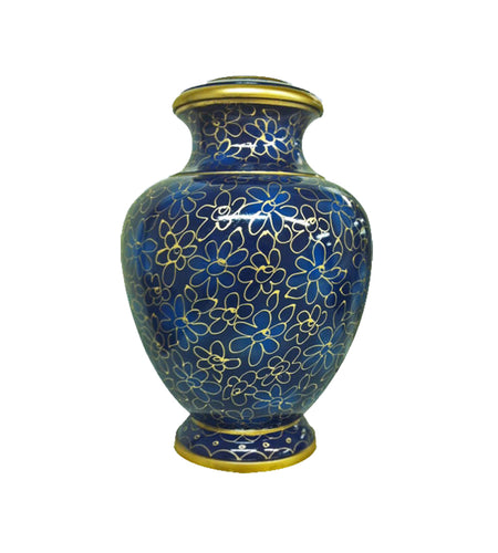 Large Elite Blue & Gold Flower Adult Brass Urn