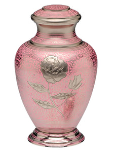 Large Pink & Silver Rose Patterned Adult Brass Urn