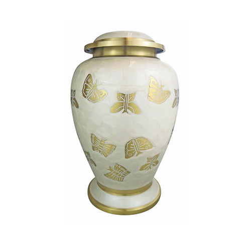 Large Pearl Coloured Enamel Urn with Golden Butterflies Adult Brass Urn