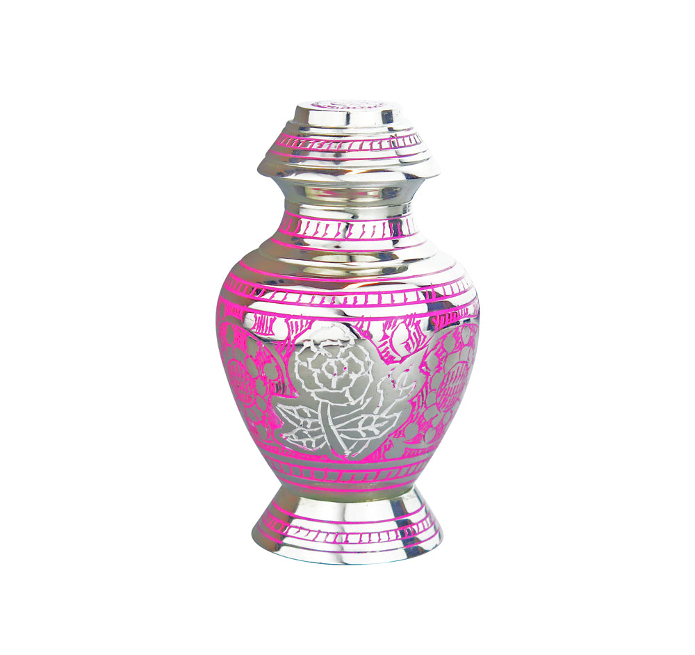 Miniature Silver & Pink Rose Patterned Keepsake Urn