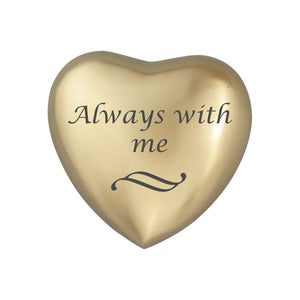 Always With Me Golden Heart Brass Keepsake Urn