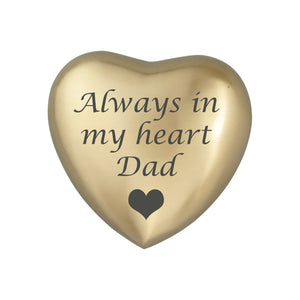 Always in my Heart Dad Golden Heart Brass Keepsake Urn