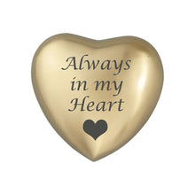 Always in my Heart Golden Heart Brass Keepsake Urn