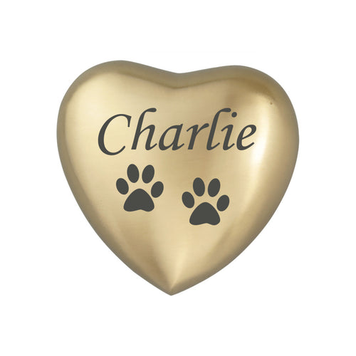 Personalised Paw Golden Heart Brass Keepsake Urn
