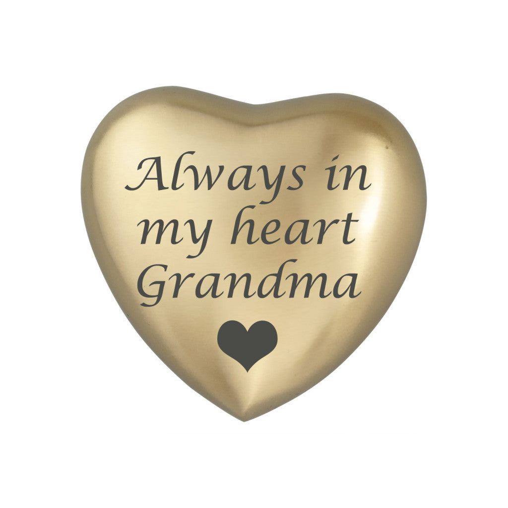 Always in my Heart Grandma Golden Heart Brass Keepsake Urn