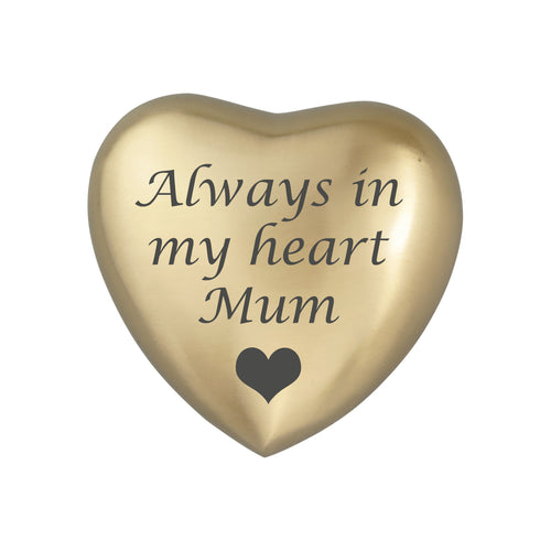 Always in my Heart Mum Golden Heart Brass Keepsake Urn