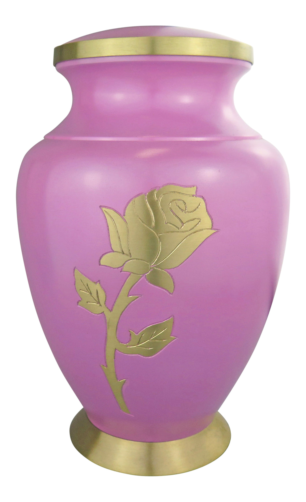 Large Golden Rose Pink Adult Brass Urn