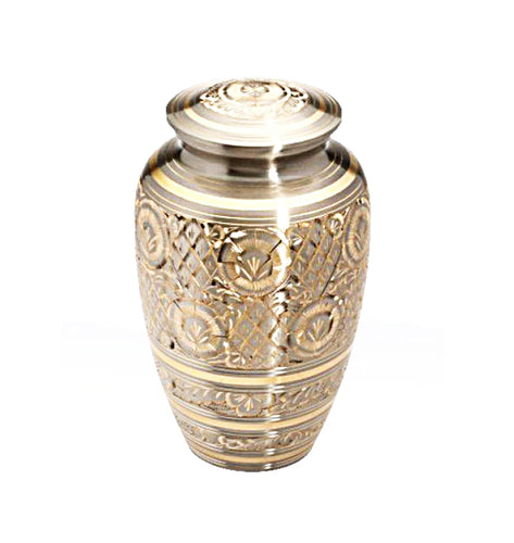 Large Vintage Art Deco Silver and Gold Adult Brass Urn