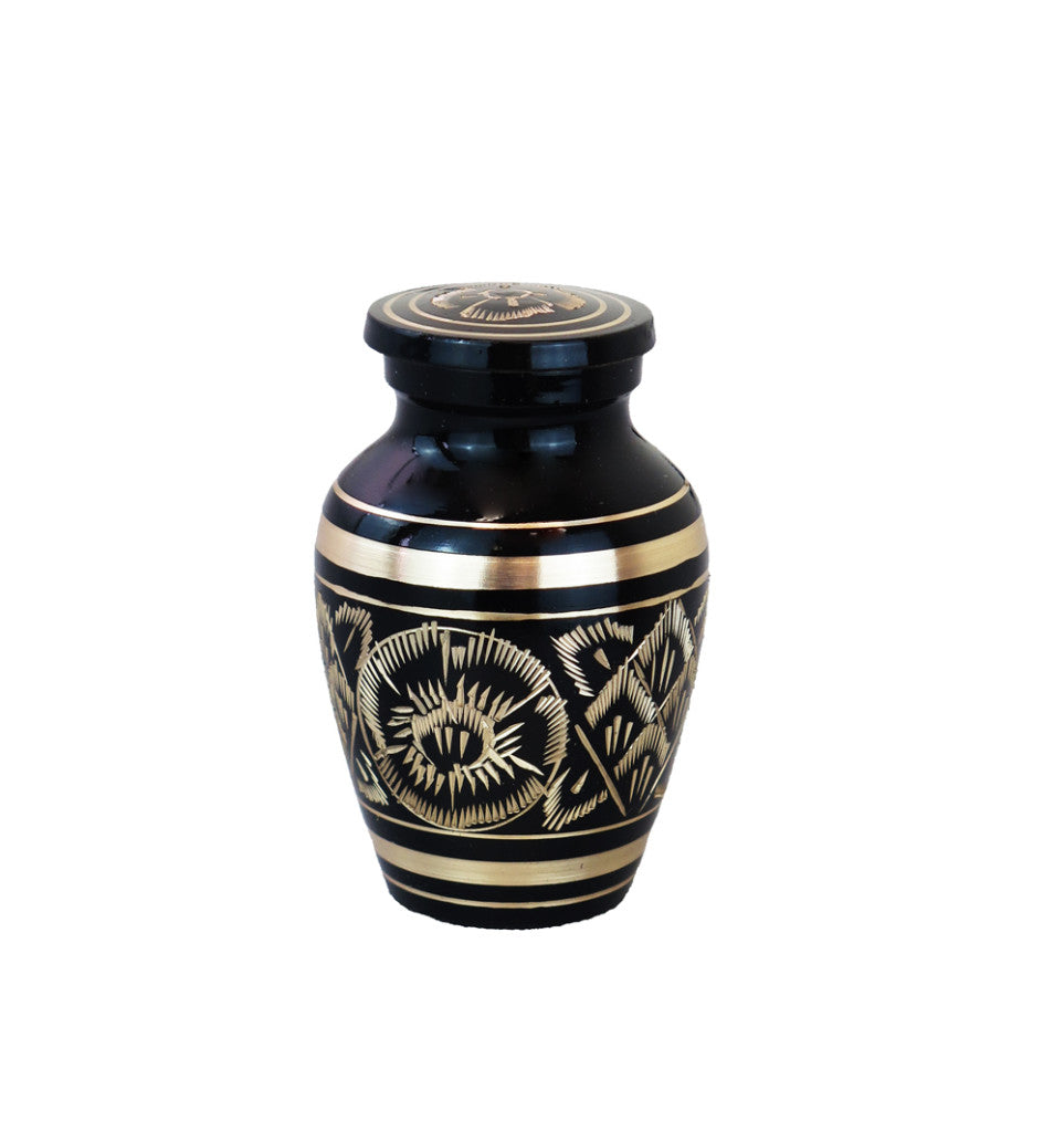 Miniature Vintage Art Deco Black And Gold Keepsake Urn