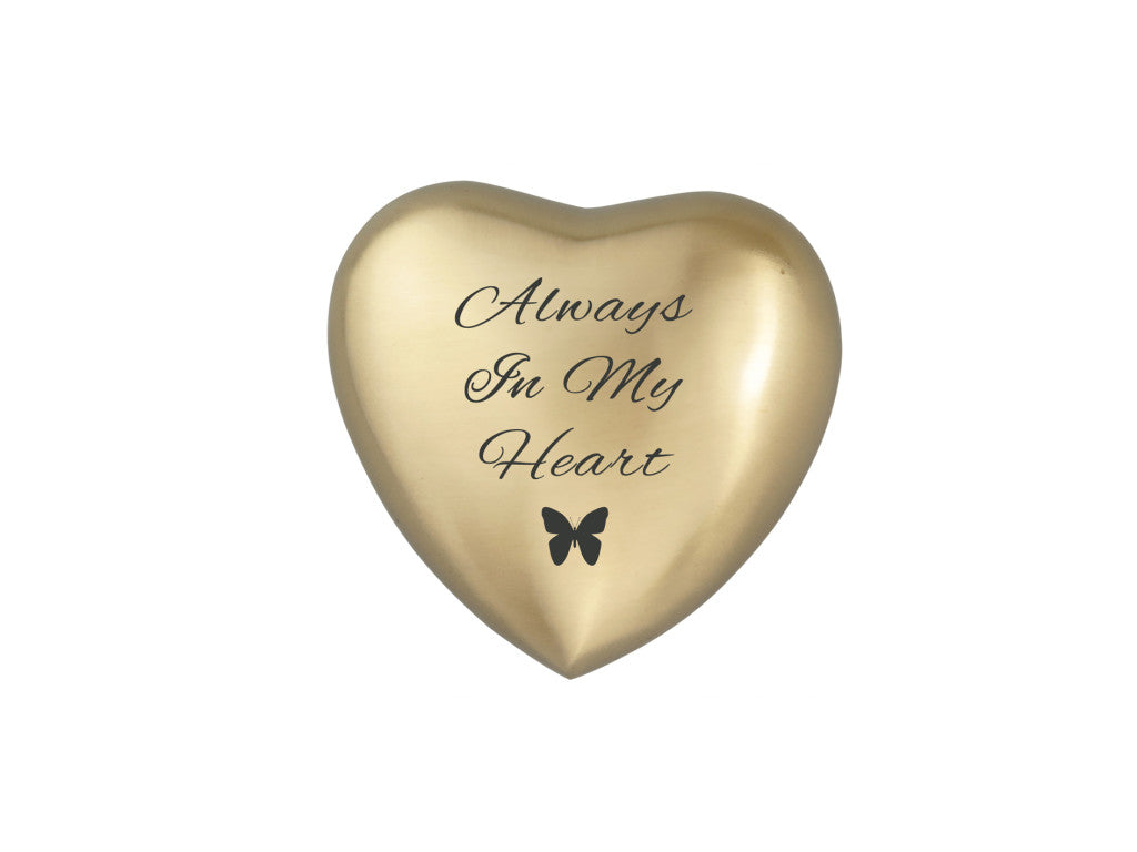 Always in my Heart Golden Butterfly Heart Brass Keepsake Urn