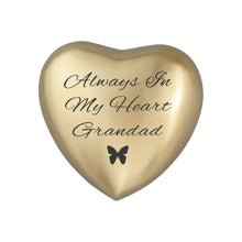 Always in my Heart Grandad Golden Butterfly Heart Brass Keepsake Urn