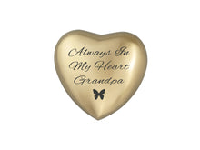 Always in my Heart Grandpa Golden Butterfly Heart Brass Keepsake Urn