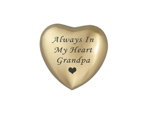 Always in my Heart Grandpa Golden Heart Brass Keepsake Urn