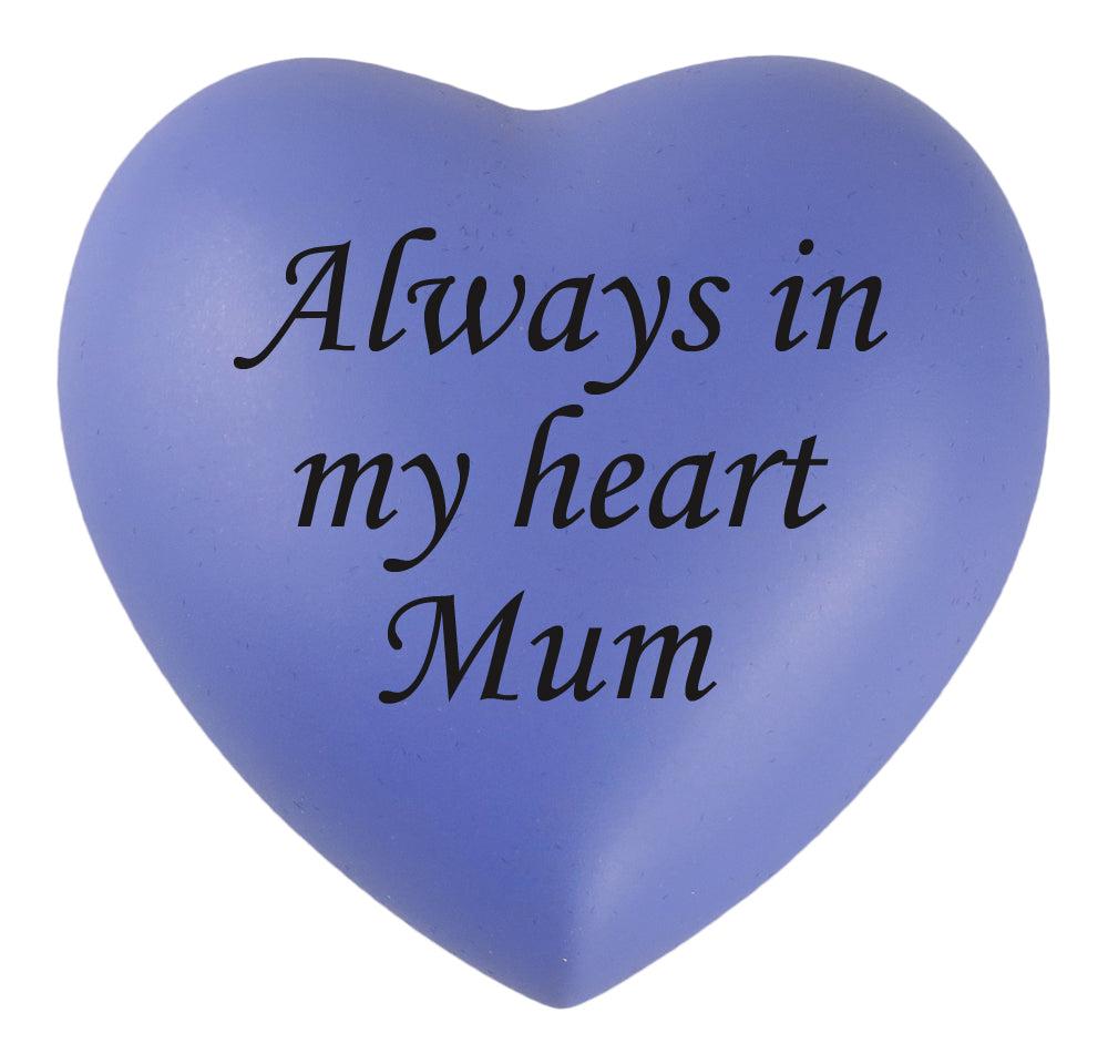 Always in my Heart Mum Purple Heart Brass Keepsake Urn