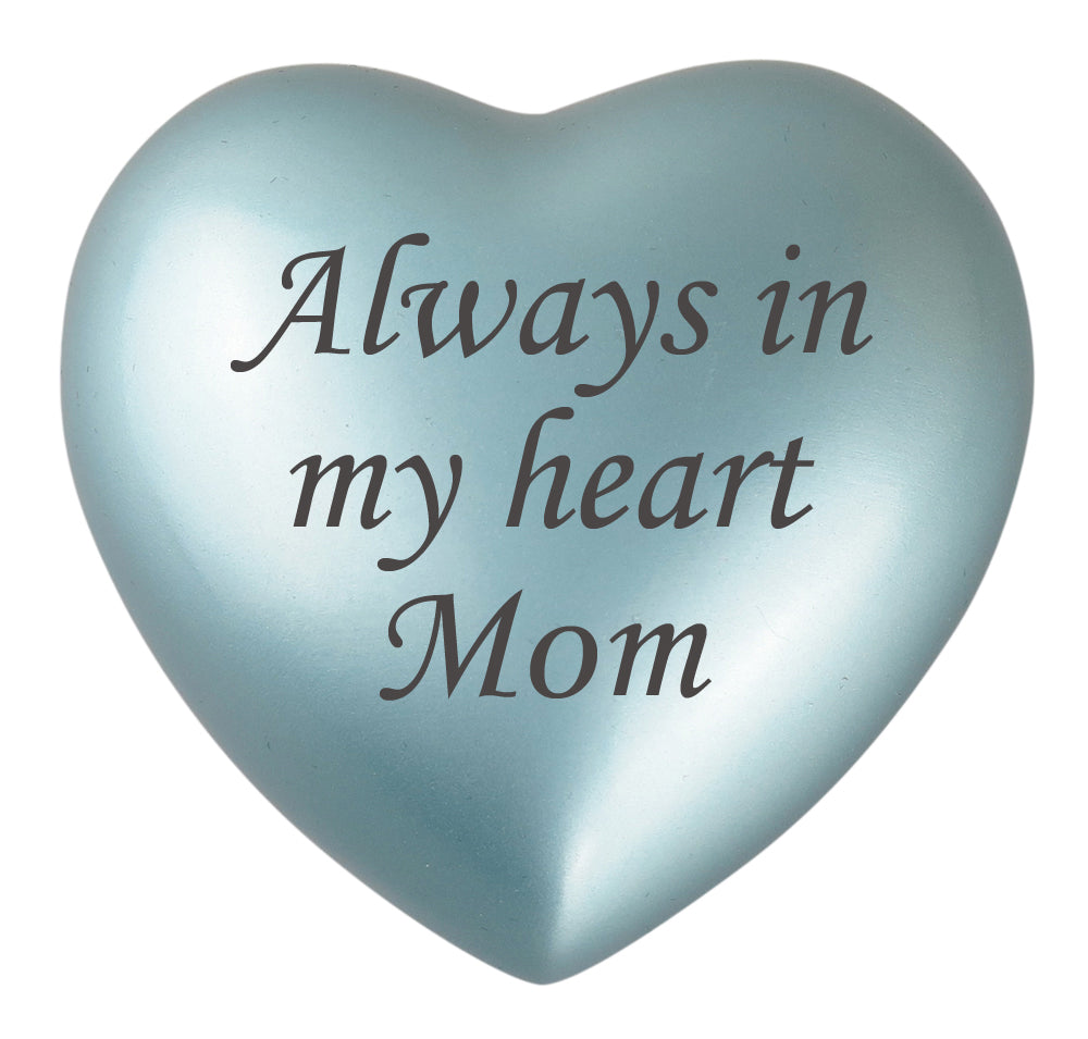 Always in my Heart Mom Blue Heart Brass Keepsake Urn