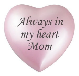 Always in my Heart Mom Pink Heart Brass Keepsake Urn