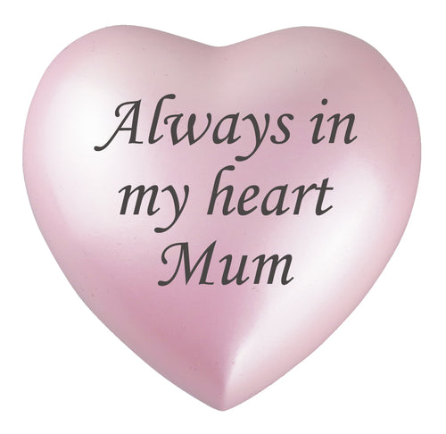 Always in my Heart Mum Pink Heart Brass Keepsake Urn
