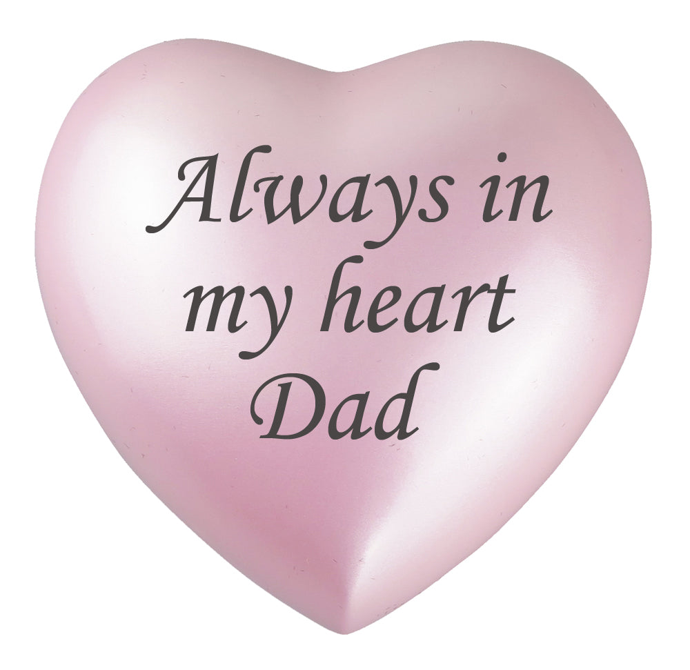 Always in my Heart Dad Pink Heart Brass Keepsake Urn