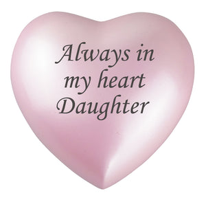 Always in my Heart Daughter Pink Heart Brass Keepsake Urn