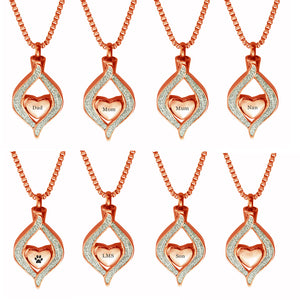 Rose Gold Diamond Heart Urn Cremation Pendant Variations - Personalised, Dad, Mum, Nan, Son