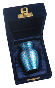 Miniature Metallic Blue and Silver Stars Keepsake Urn