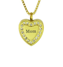 Mom Crystal Gold Heart Cremation Urn Pendant
