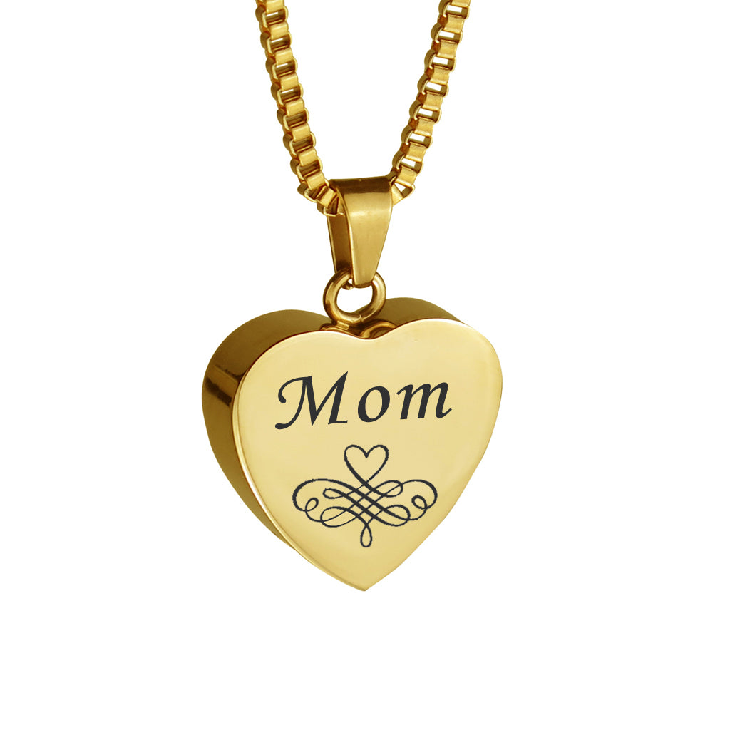 Mom Patterned Gold Heart Cremation Urn Pendant