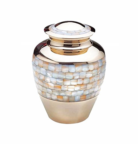 Large Mother of Pearl Adult Brass Urn