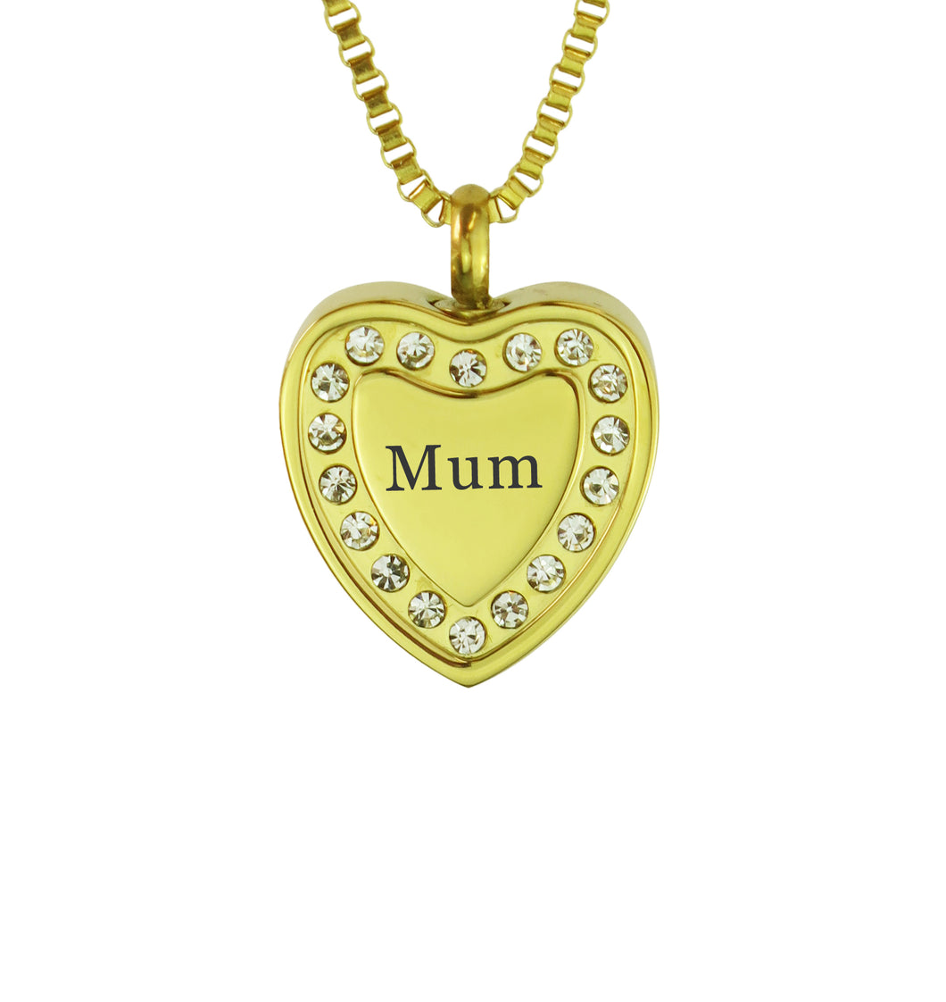 Mum Crystal Gold Heart Cremation Urn Pendant