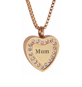 Mum Crystal Rose Gold Heart Cremation Urn Pendant