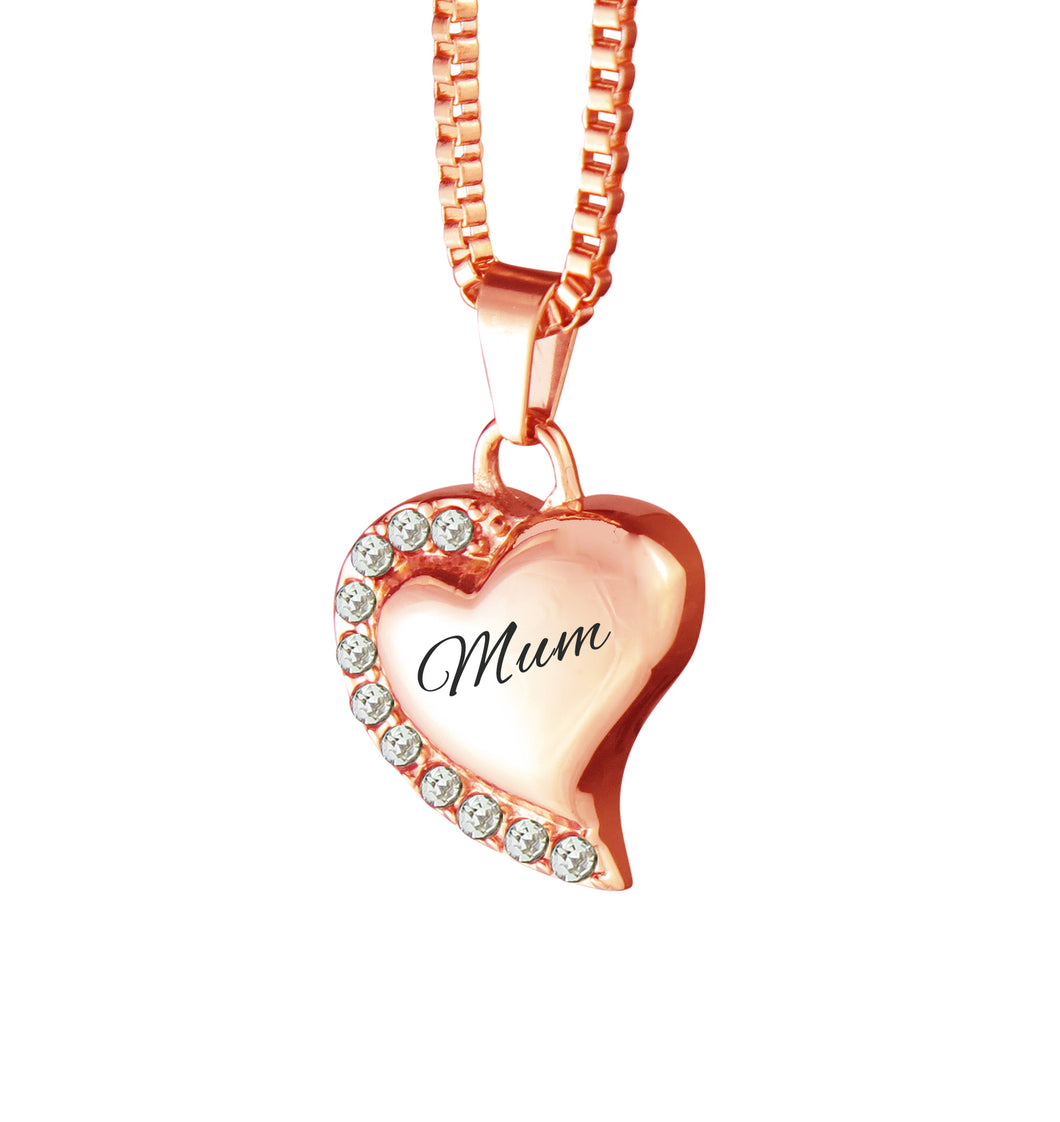 Mum Heart with Crystals Rose Gold Cremation Urn Pendant