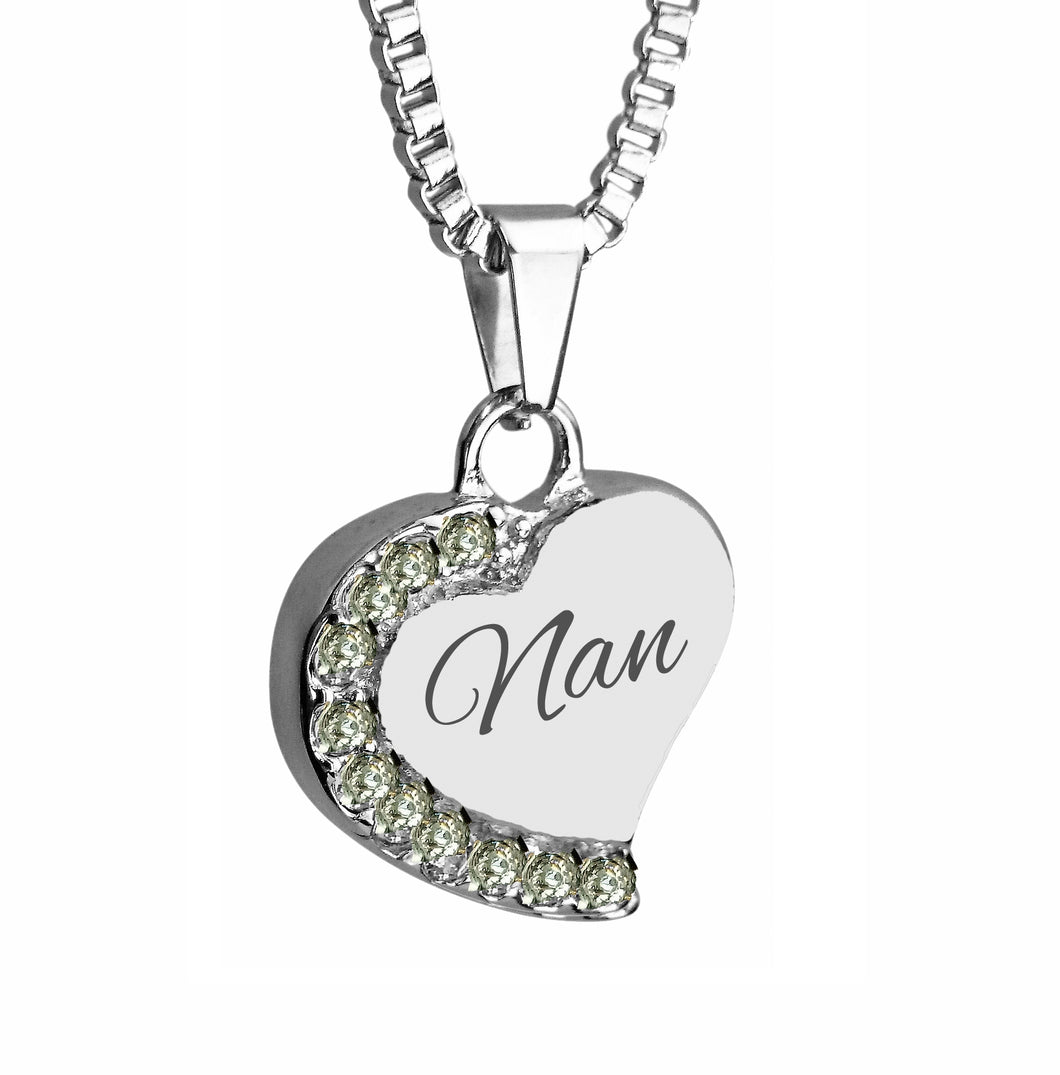 Nan Heart with Crystals Cremation Urn Pendant
