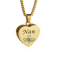 Nan Patterned Gold Heart Cremation Urn Pendant