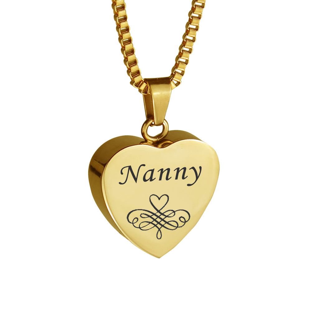 Nanny Patterned Gold Heart Cremation Urn Pendant