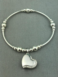 Sterling Silver Heart with Crystals Cremation Urn Stacking Bracelet