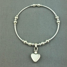 Sterling Silver Heart Cremation Urn Stacking Bracelet