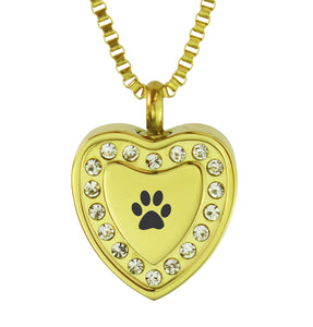 Paw Crystal Gold Heart Cremation Urn Pendant
