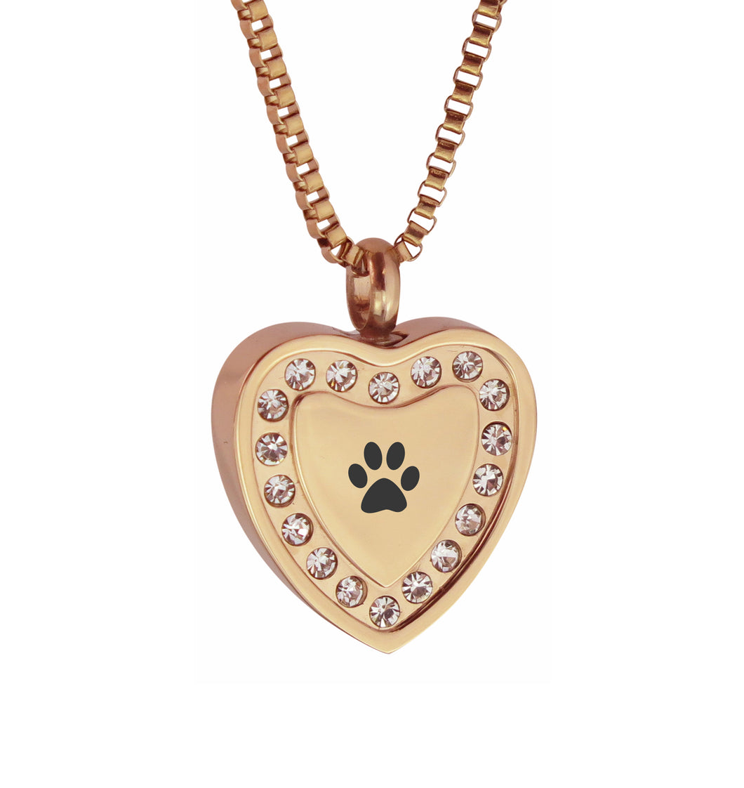 Paw Crystal Rose Gold Heart Cremation Urn Pendant