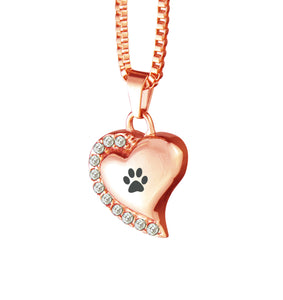 Paw Heart with Pink Crystals Rose Gold Cremation Urn Pendant