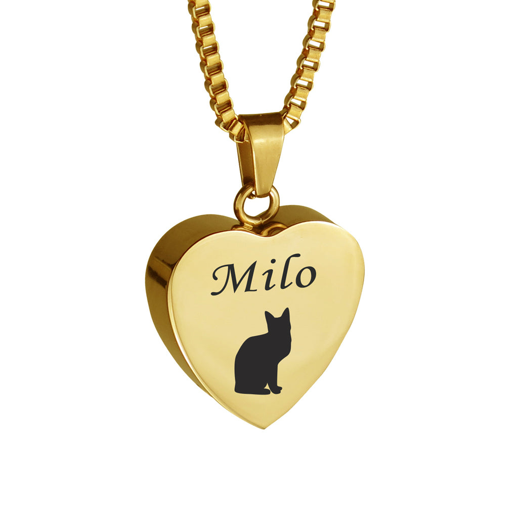 Personalised Cat Gold Heart Pet Cremation Urn Pendant
