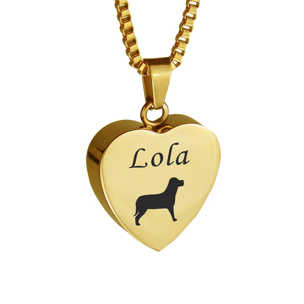 Personalised Dog Gold Heart Pet Cremation Urn Pendant