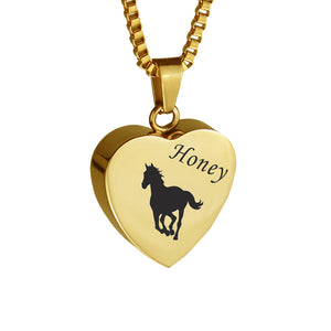 Personalised Horse Gold Heart Pet Cremation Urn Pendant