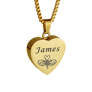 Personalised Patterned Gold Heart Cremation Urn Pendant