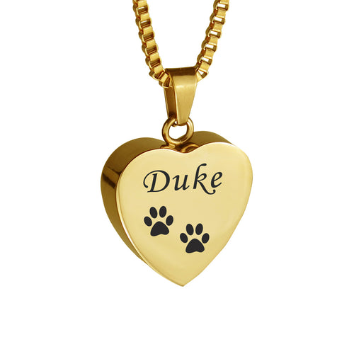 Personalised Pet Cat Dog Paw Print Gold Heart Cremation Urn Pendant