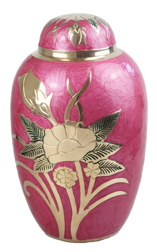 Large Pink and Gold Flower Adult Brass Urn